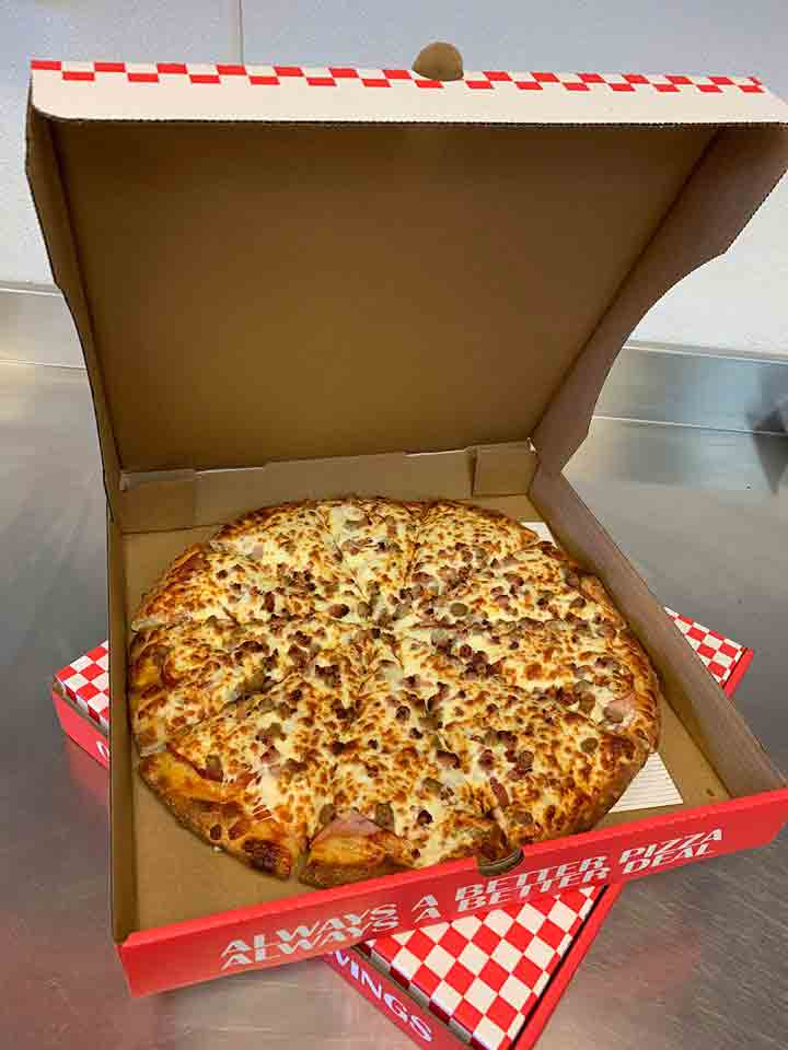 all meat pizza from omega pizza